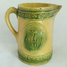 Antique Salt Glaze Yellow Ware Stoneware Pitcher with Grazing Cows Scene 1800's