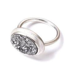 Vicky Davies Druzy Ring Platinum