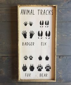 Hunting sign, baby hunting, boy nursery, country nursery, rustic nursery A personal favorite from my Etsy shop https://www.etsy.com/ca/listing/463116995/animal-tracks-sign-hunting-sign-nursery