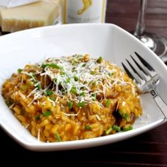 A lightened Mushroom Risotto made with vegetable broth.