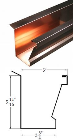 Tiburon style copper gutter. For those wanting clean lines, but something more appealing than standard fascia gutter.
