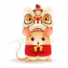 The Little Rat with Chinese New Year Lion Dance Head.- The Little Rat with Chinese New Year Lion Dance Head. – Stock Vector , The Little Rat with Chinese New Year Lion Dance Head. Chinese New Year Design, Chinese New Year Poster, Chinese New Year Card, New Years Poster, Chinese New Years, Chinese New Year Decorations, New Years Decorations, Chinese New Year Wallpaper, Badges