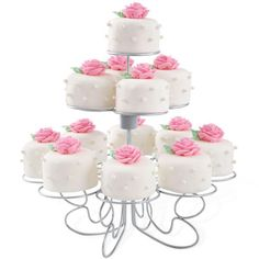 Pretty Petits Fours - Stunning rose-topped petits fours are perfect to serve for Mother's Day, at bridal showers and wedding receptions. Display on the Cupcakes-N-More Treat Stand for a special presentation. Fun Cupcakes, Cupcake Cakes, Amazing Cupcakes, Rose Icing, Wilton Cake Decorating, Cookie Decorating, Wilton Cakes, Muffins, Small Cake