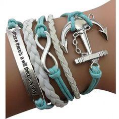 Light Blue Inspirational/nautical bracelets