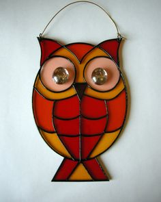 Owl Stained Glass Suncatcher Painted on by StainedGlassItems