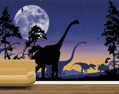 Dinosaur Landscape Mural-Violet