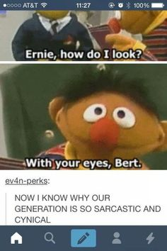 It's all Ernie's fault. All that Sesame Street corrupted us.
