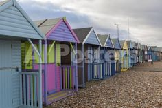 Beach Huts at Herne Bay, Kent, England, United Kingdom, Europe by Daniel Pollera Landscapes Photographic Print - 61 x 41 cm