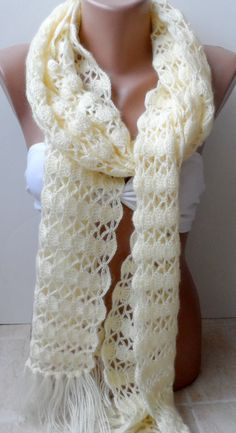 Cream Crochet scarf Crocheted scarf Cream. scarf by elegancescarf, $32.90