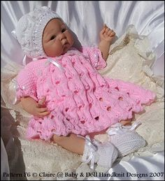 KNITTING PATTERN for a lacy dress, highly patterned lacy coat, bonnet and bootees. Fits a doll or a baby. double knitting yarn (US: light worsted). Lace Patterns, Baby Knitting Patterns, Knitting Designs, Knitting Yarn, Hand Knitting, Pet Clothes, Doll Clothes, 4 Ply Yarn, Baby Coat