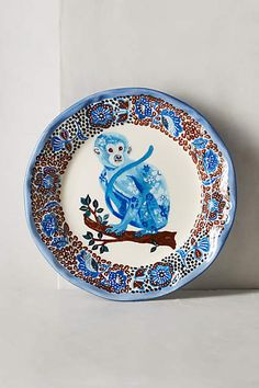 New BLUE MONKEY PRIMATE Collectible Nathalie Lete French Artist Stoneware Plate in Home & Garden, Kitchen, Dining & Bar, Dinnerware & Serving Dishes | eBay