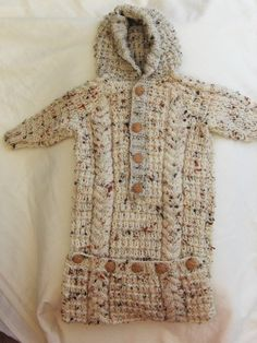 Hand Knitted Oatmeal Flecked Baby Sleeping Bag, Unisex, Baby Accessories, Baby…