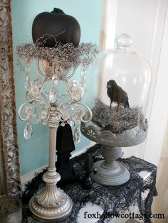 Halloween Mantel Decorating: by Shannon of Fox Hollow Blog: How To Get A Gothic Style Haunted Halloween Mantel