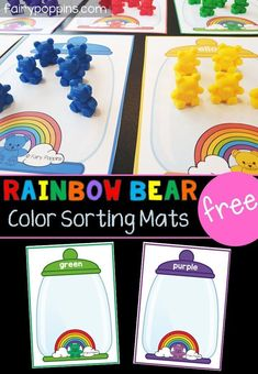 These free rainbow bear sorting mats are great for kids in preschool or kindergarten. Kids can use their fine motor skills to sort rainbow counting bears onto the mats. This activity helps kids learn to identify colors (colours). Preschool Color Activities, Rainbow Activities, Early Learning Activities, Preschool Centers, Free Preschool, Toddler Learning, Preschool Learning, Kindergarten Activities, Preschool Activities
