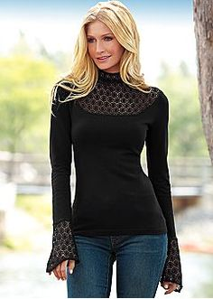 Lace inset sweater - I would probably wear this one everyday - classy/comfy (own this one. venus.com)