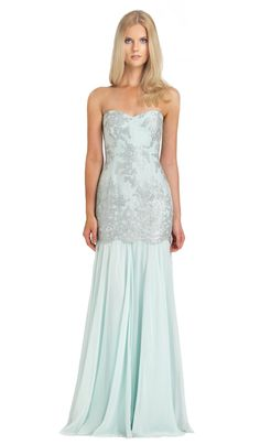 Light Blue Gown - Mieten Badgley Mischka Kleider - Vorderseite vom Kleid