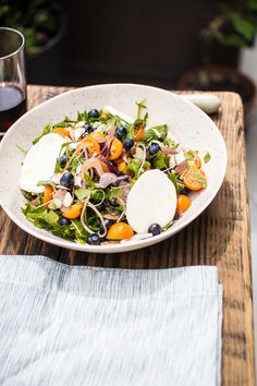 The Flourishing Foodie: Summer salad with fresh blueberries, warm Mozzarella, and a Maple Cinnamon Dressing