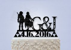 Epic Link and Zelda with Initials and Date Cake by Bee3DGifts