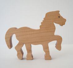Horse Wood Toy Maple Child Safe Londonberry Farm Hand Cut Scroll Saw. $15.00, via Etsy.