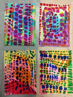 First grade paintings inspired by Alma Woodsey Thomas, Teacher: Lisa Amer Woods painting shapes pattern