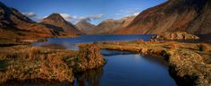 Wast Water Lake District panoramic landscape photography at golden hour lightWinter. Wastwater panoramic canvas prints for sale, Wast Water wall art for sale, Buy canvas prints of Wast water lake District National Park Cumbria England UK
