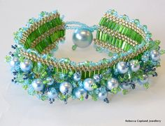 Items similar to Swarovski Pearls By The Sea Shore Embellished Cuff on Etsy Beaded Jewelry, Beaded Bracelets, Unique Jewelry, Beaded Crafts, Green Peridot, Swarovski Pearls, Anklets, Hand Weaving, Cuffs