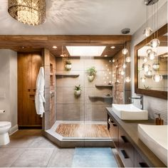Thinking about Bathroom Decor? Here are 35 Stunning Ideas for Tropical Bathroom Decor. Best interior design and decorations for your dream bathrooms. Spa Like Bathroom, Dream Bathrooms, Bathroom Ideas, Glass Bathroom, Spa Bathrooms, Peach Bathroom, Brown Bathroom, Bathroom Remodeling, Remodeling Ideas