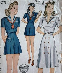 Bertie - 1940s WWII Era Vintage Style 3 Piece Sailor Girl Romper Playsuit & Day Dress - Pattern