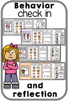 Behavior check in reflection for classroom management and positive behavior change. Encourage expected behaviors and appropriate replacement behaviors. Students recognizing inappropriate actions and behaviors. Positive behavior support. Emotion learning  #behavior #behaviormanagement #social #socialskills #socialemotional #emotions #positivereinforcement #reinforcement #autism #asd #classroommanagement #pbis #behaviorintervention #reflection #behaviorchange #aba #appliedbehavioranalysis Autism Behavior Management, Behavior Plans, Social Behavior, Classroom Behavior, Classroom Management, Classroom Decor, Behavior Interventions, Behaviour Chart, Positive Behavior Support