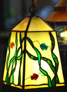 Fishful Thinking Lantern  Stained Glass by DodgeGlassStudio, $185.00