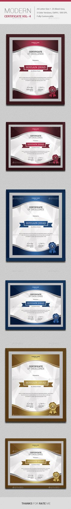 #MODERN Certificate VOL- 4..Download here: http://graphicriver.net/item/modern-certificate-vol-4/10783581?ref=arroganttype