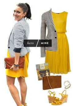 Hers/Mine (yellow dress + striped cardigan)
