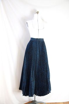 vintage ESCADA Skirt Pleated Black and Blue by PomegranateVintage, $45.00