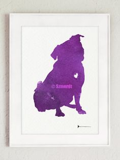 Watercolor Pug Purple Dog Painting Animal Wall Art Poster Pug Silhouette Home Decor by Silhouetown on Etsy