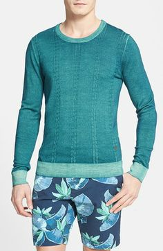 J. Lindeberg 'Coleman' Washed Cable Knit Sweater available at #Nordstrom