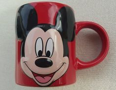 Mickey Mouse Coffee Mug Cup 3D Raised Graphics Jerry Leigh Embossed Red Retired #Disney