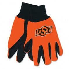 Oklahoma State Cowboys Gloves Two Tone Style Adult Size