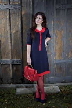 "Tribute to the Fiftees: Dress ""Noemie"", blue-red. $165.00, via Etsy."