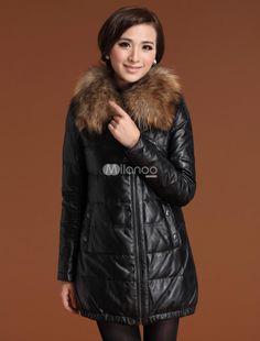 Slimming Black Sheepskin Duck Down Raccoon Collar Womens Fur Coat. See More Fur Coats at http://www.ourgreatshop.com/Fur-Coats-C798.aspx