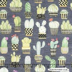 Michael Miller Fabric - Lovely Llamas - Cactus Hoedown in Gray