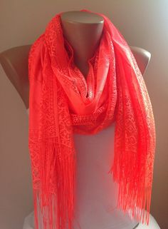 Check out this item in my Etsy shop https://www.etsy.com/listing/185435939/neon-orange-tulle-fringed-scarfwomen