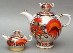 Red Rooster Teapots - 2 pieces (Big and Small) | Lomonosov Russia