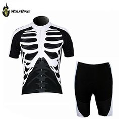 WOLFBIKE Men Cycling Jersey Bicycle Bike Cycle Short Sleeve Jersey Jacket Comfortable Breathable Shirts Tops, 3D Cushion Padded Shorts Tights Pants Sportswear Suit Set Breathable Quick Dry Black White. Jersey and Pant Set, Size: M ** Check this awesome product by going to the link at the image.