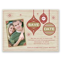 retro style holiday card / save the date.  choose your color and paper stock including a magnet option!