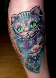 Cheshire cat tattoo #tattoo #tattoos #leg #cat #ink