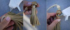 Tassel belt using a nut to secure the top.  http://honestlywtf.com/diy/diy-tassel-bag-charm/