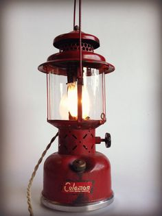 Vintage Coleman Lantern Lamp Industrial Upcycled Reclaimed Recycled Lighting Man Cave Minimalist Metal