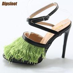 da55d8c2e8fb6 Beautiful Green Tassel Cover Women Peep Toe Sandals Black Leather Straps  Ladies Sexy High Heels Slingback Fashion Dress Shoes