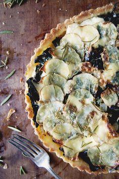 Rosemary Potato Kale Tart with Ricotta and Parmesan