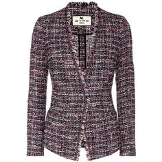 Etro Tweed Blazer ($1,040) ❤ liked on Polyvore featuring outerwear, jackets, blazers, multicoloured, etro jacket, colorful blazers, purple blazers, purple jacket and blazer jacket